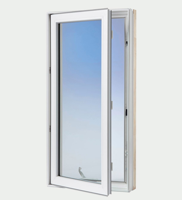 White casement window - exterior open window view
